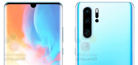 Renders of the Huawei P30 Pro show a boxy 10X zoom lens below two lower magnification lenses.