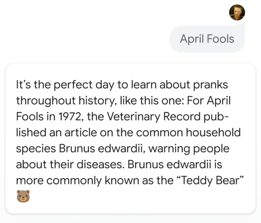 Google Assistant April Fools 2019