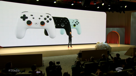 Phil Harrison shows the Stadia controller.