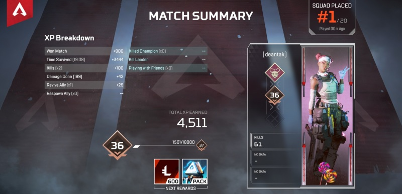 Proof that Dean Takahashi won an Apex Legends game.