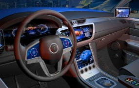 Synaptics' touchscreen tech is used in this automotive display.