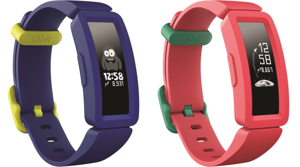Fitbit Ace 2 activity tracker for kids in watermelon with teal clasp or night sky with neon yellow clasp