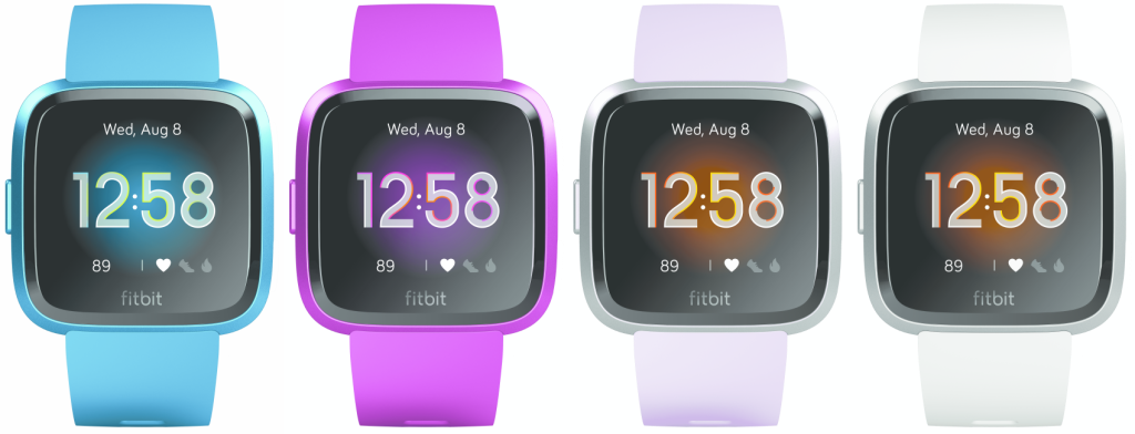 Fitbit Versa Lite Edition in marina blue, lilac, mulberry, and white