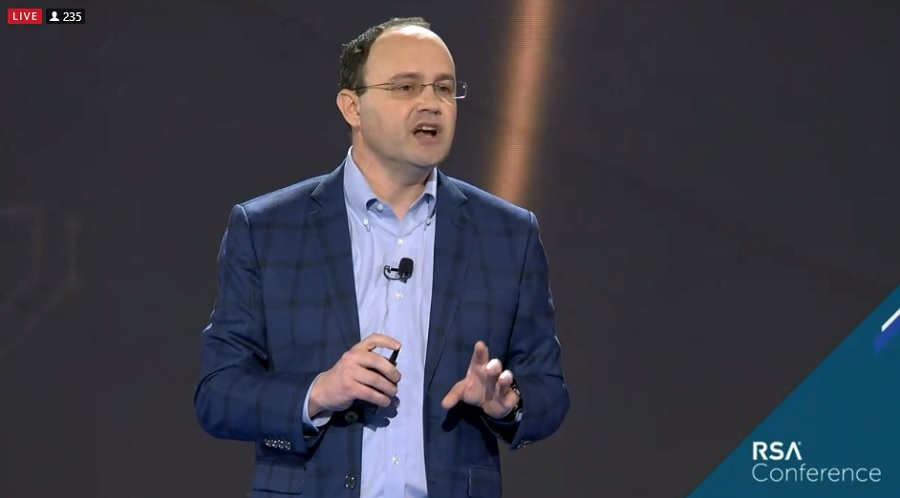 Steve Grobman, CTO of McAfee, gives a keynote speech at RSA 2019 event.