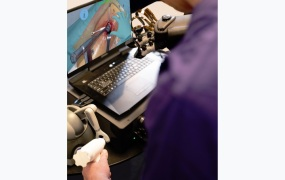 Performing surgery with Haptx VR gloves.