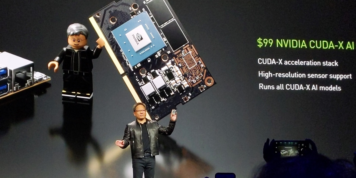 Nvidia CEO Jensen Huang holds up the Jetson Nano onstage during the GTC keynote address in San Jose, California