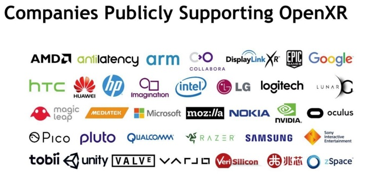 Khronos Group has all the big players supporting its OpenXR standard.
