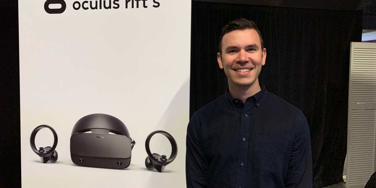 Nate Mitchell, cofounder of Oculus, shows off the Oculus Rift S.