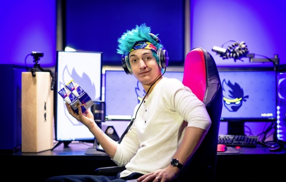 Ninja, not posing at all, authentically holding his Red Bull.