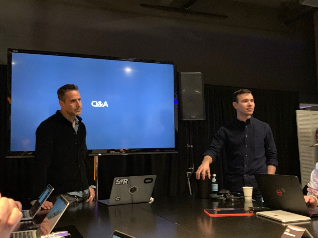 Jason Rubin (left) and Nate Mitchell talk about the Oculus Rift S.