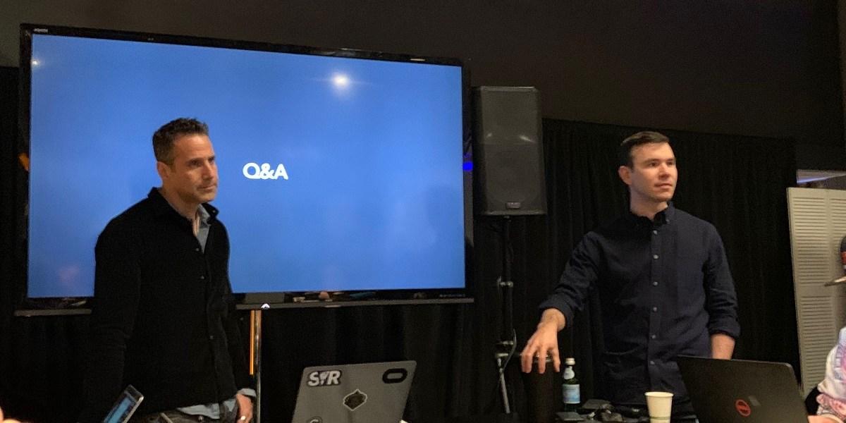 Jason Rubin (left) and Nate Mitchell talk about the Oculus Rift S.