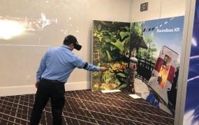 Dean Takahashi demos a Qualcomm XR virtual reality headset.