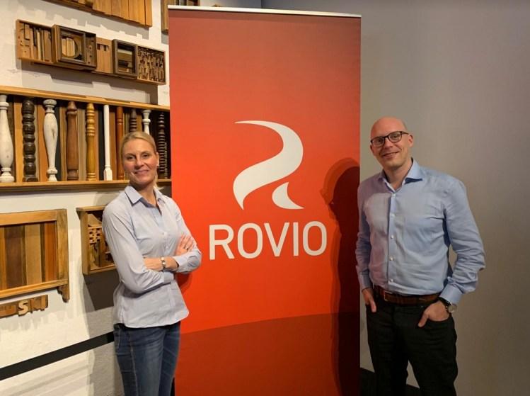 Kati Levoranta, CEO of Rovio, and Alexandre Pelletier-Normand, head of the game division at Rovio.