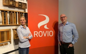 Kati Levoranta, CEO of Rovio, and Alexandre Pelletier-Normand, head of the game division at Rovio.
