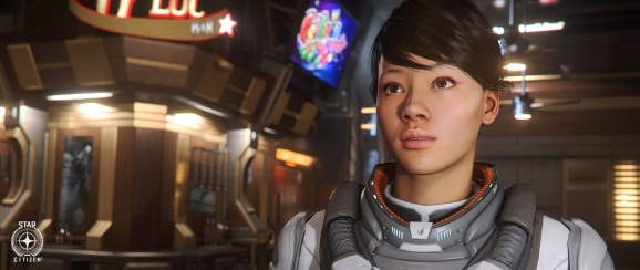 Playable female character in Star Citizen.