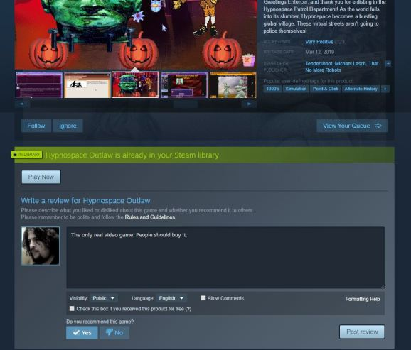 A Steam review.