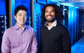 Thinknum cofounders Gregory Ugwi and Justin Zhen pose for a picture.