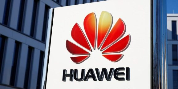 The logo of Huawei Technologies is pictured in front of the German headquarters of the Chinese telecommunications giant in Duesseldorf, Germany, February 18, 2019.