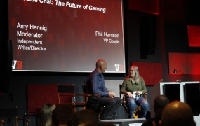 Phil Harrison and Amy Hennig at GB Summit 2019.