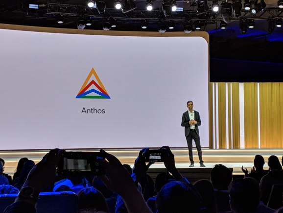 Google CEO Sundar Pichai announces the debut of Anthos during the keynote address at Moscone Center on April 9, 2019 in San Francisco
