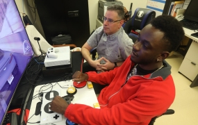 U.S. Army veteran Mike Monthervil plays with the Xbox Adaptive Controller.