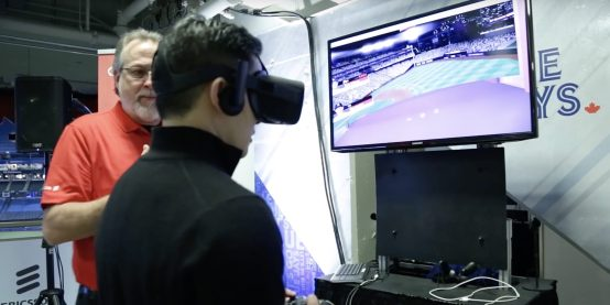 A Rogers representative demonstrates 5G's potential for virtual reality.