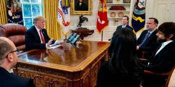 Donald Trump meeting Jack Dorsey at the White House
