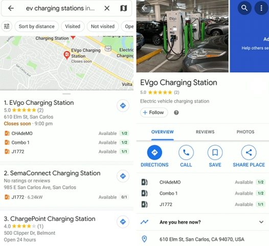 Google Maps will now show real-time availability of electric vehicle