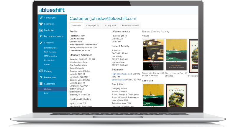 Blueshift  Blueshift raises $30 million to manage and analyze customer data homepage blueshift laptop screenshot rev1