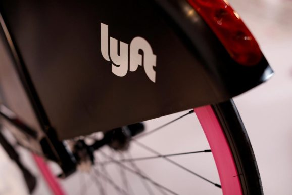 A Lyft bicycle is shown at the Lyft listing on the Nasdaq during an IPO event in Los Angeles, California, U.S., March 29, 2019.