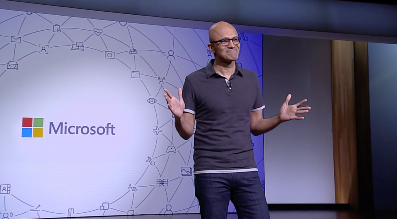 Microsoft CEO Satya Nadella onstage at Build 2018 held May 7-9 at the Washington State Convention Center in Seattle.
