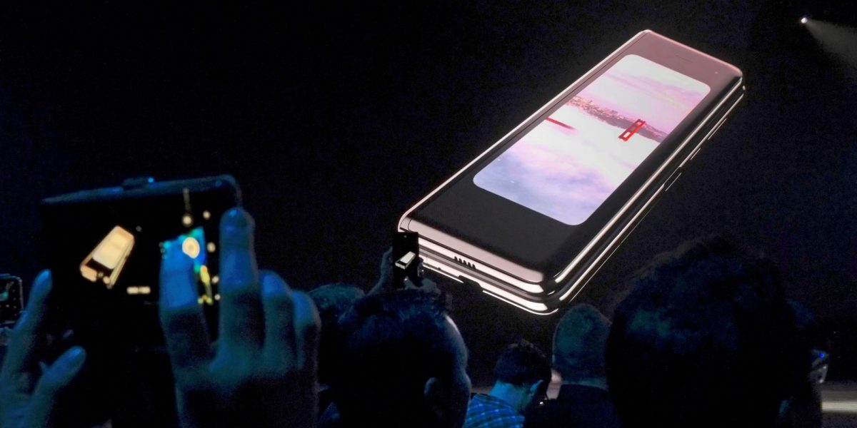 The Samsung Galaxy Fold phone is shown on a screen at Samsung's Unpacked event in San Francisco, California, U.S., Feb. 20, 2019