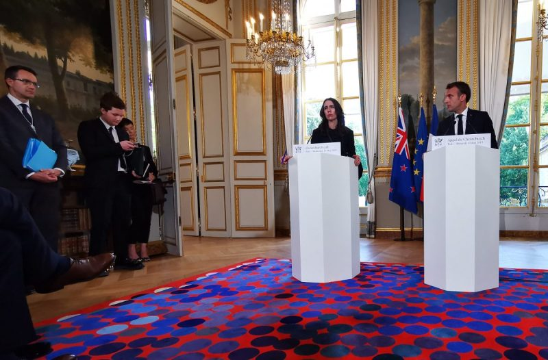 """New Zealand Prime Minister Jacinda Ardern and French president Emmanuel Macron speak at a conference to announce details of the """"Christchurch Call"""" to fight online terrorism."""