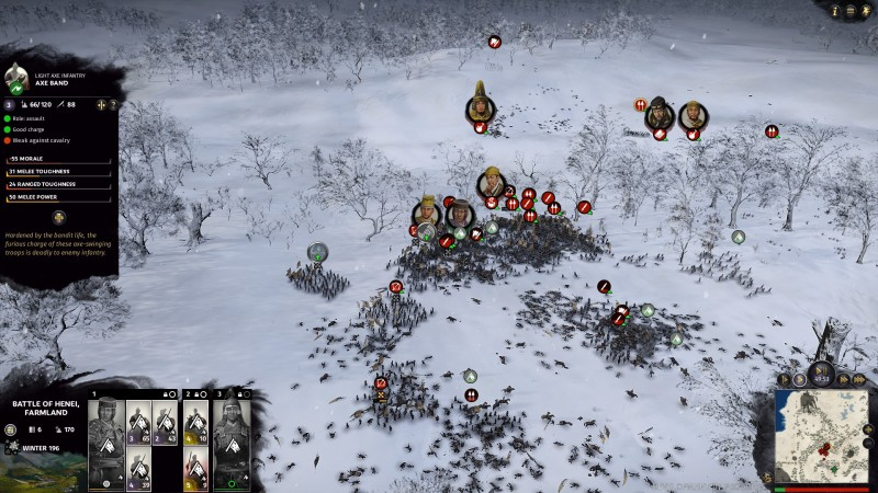 A winter battle in Total War: Three Kingdoms