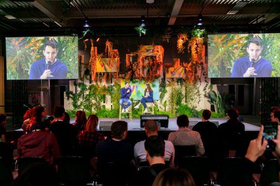 Meero CEO Thomas Rebaud speaks on stage at VivaTech.