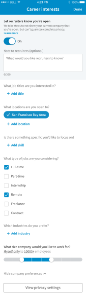 LinkedIn Career Interests Location
