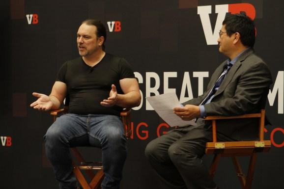 Chris Taylor (left) tells GamesBeat's Dean Takahashi about his new cloud gaming platform, Kanoogi.