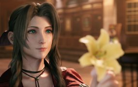 Aerith offers Cloud a flower in the upcoming FF7 Remake.