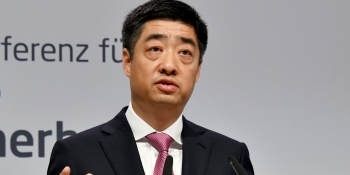 23 May 2019, Brandenburg, Potsdam: Houkun Hu, Vice Chairman of Huawei, speaks at the National Cyber Security Conference.