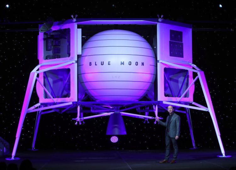 WASHINGTON, DC - MAY 09: Jeff Bezos, owner of Blue Origin, introduces a new lunar landing module called Blue Moon during an event at the Washington Convention Center, May 9, 2019 in Washington, DC. Bezos said the module will be used to land humans the moon once again.