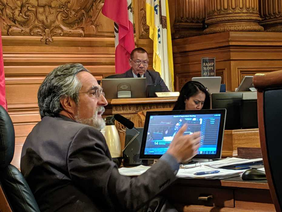 San Francisco Board of Supervisor Aaron Peskin argues in favor of the Stop Secret Surveillance  ordinance in a Board of Supervisors meeting held May 14, 2019 at San Francisco City Hall