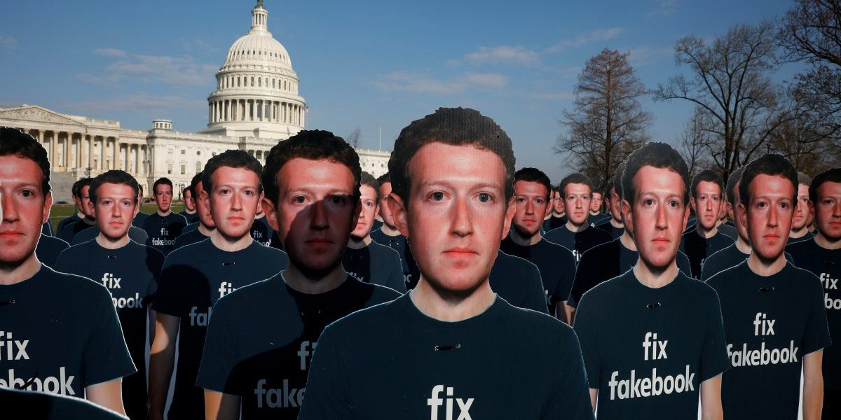 Dozens of cardboard cutouts of Facebook CEO Mark Zuckerberg are seen during an Avaaz.org protest outside the U.S. Capitol in Washington, U.S., April 10, 2018.