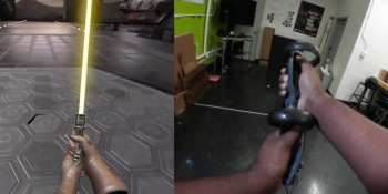 A magnetized gadget turns Oculus Touch controllers into a two-handed lightsaber