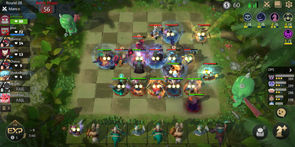 The chaos of a full fight in Auto Chess' mobile version...