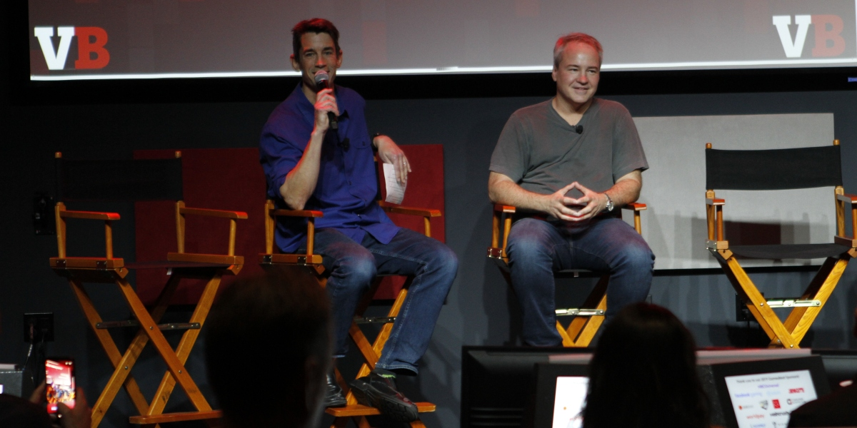 Insomniac Games' Ted Price interviews Respawn Entertainment's Vince Zampella (right) at the GamesBeat Summit.