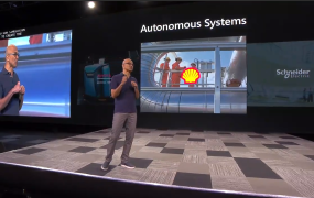 Microsoft CEO Satya Nadella talks about autonomous systems at the Build conference held May 6, 2019 in Seattle, Washington