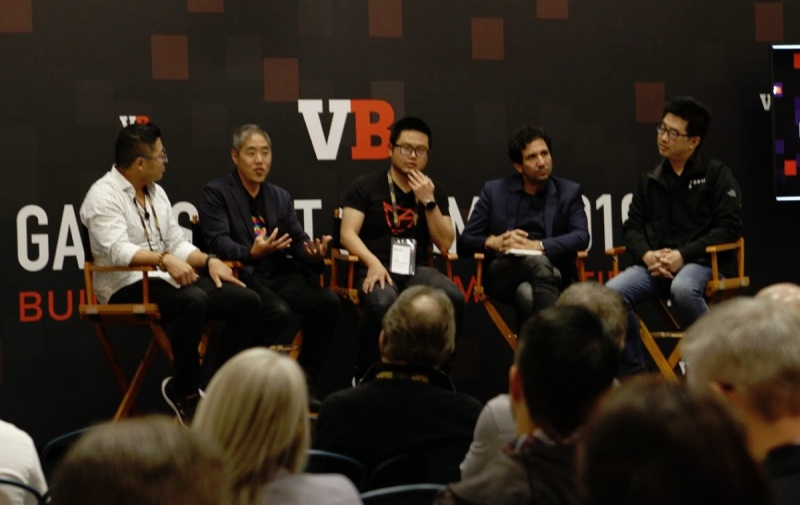 Blockchain gaming panel (left to right): James Zhang, Miko Matsumura, Roy Liu, Arthur Madrid, and Kevin Chou.