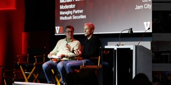 Chris DeWolfe (right), CEO of Jam City, speaks with Michael Pachter of Wedbush Securities at GamesBeat Summit 2019.