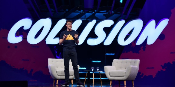 Paddy Cosgrave, CEO, Web Summit, on centre stage during the opening night of Collision 2019 at Enercare Center in Toronto, Canada