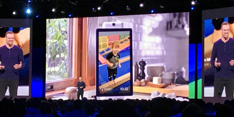 Facebook Portal head of product management John McCarthy onstage at the F8 developer conference held April 30, 2019 at the McEnery Convention Center in San Jose, California